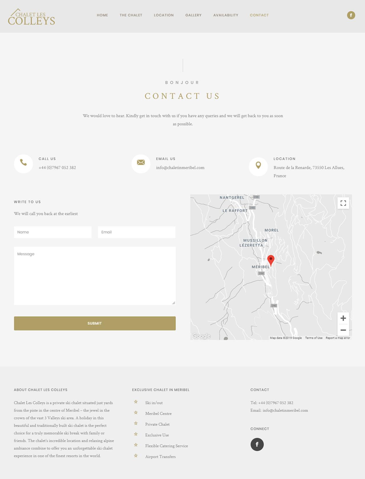 chalet in meribel website contact map page
