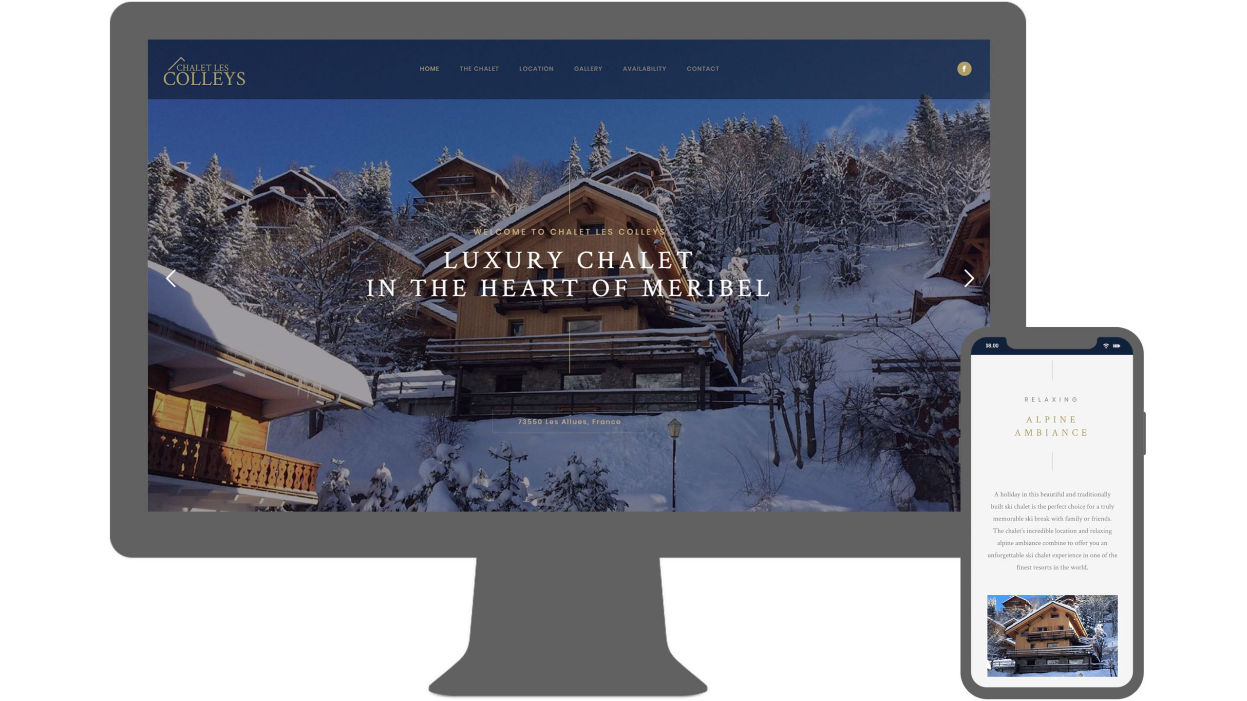 chalet in meribel website desktop and mobile