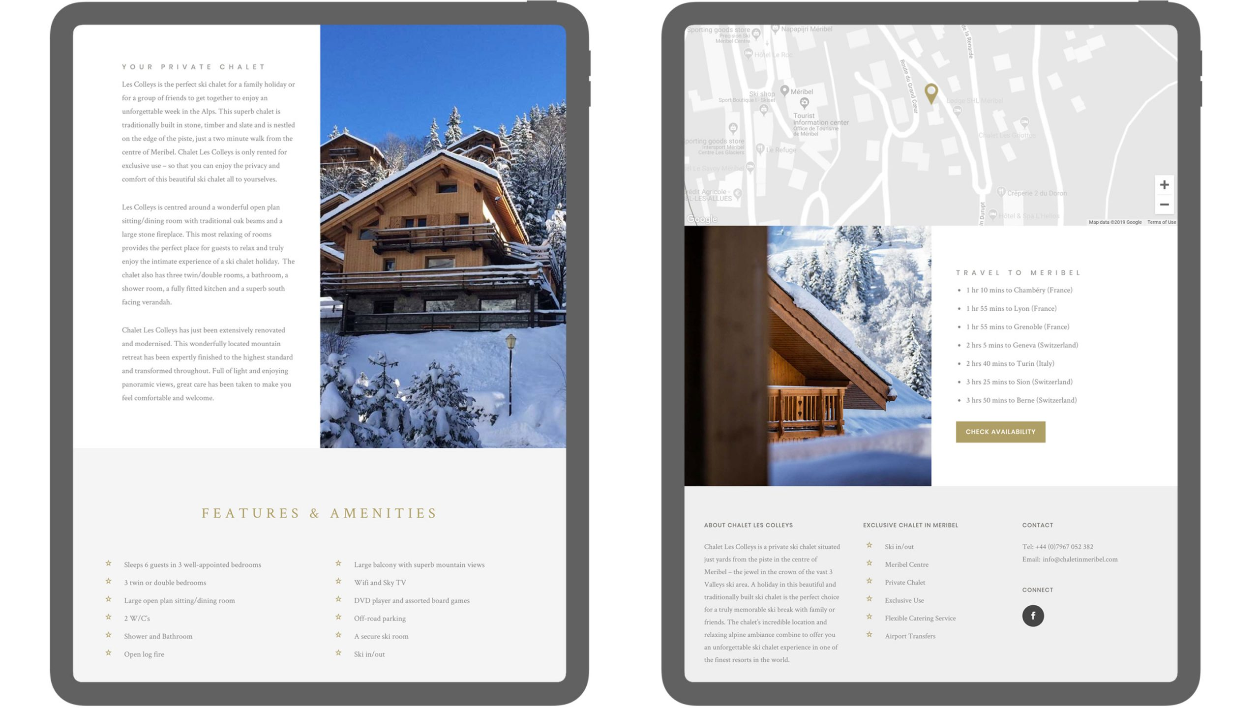 chalet in meribel website on ipads