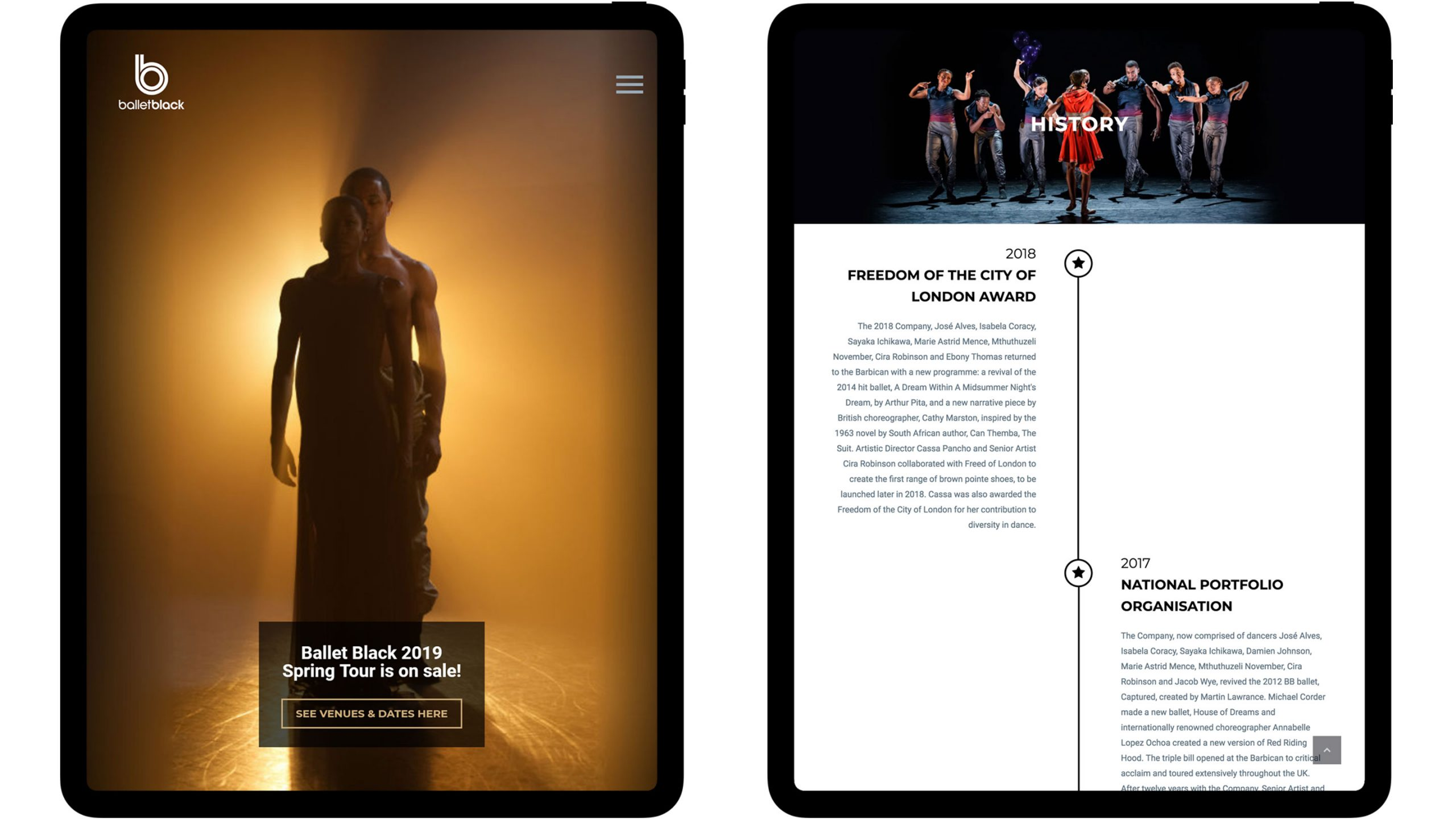 ballet black website on ipad tablets