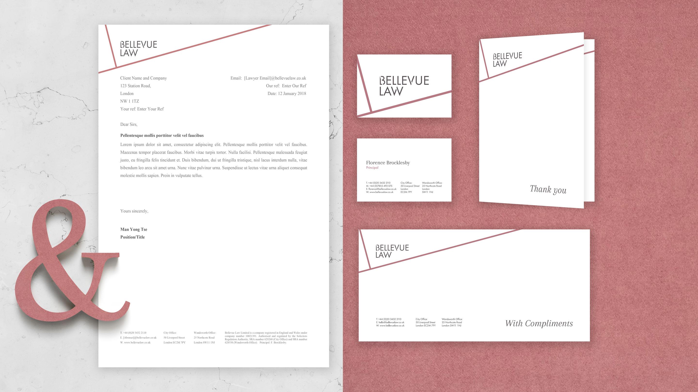 bellevue law stationary print design