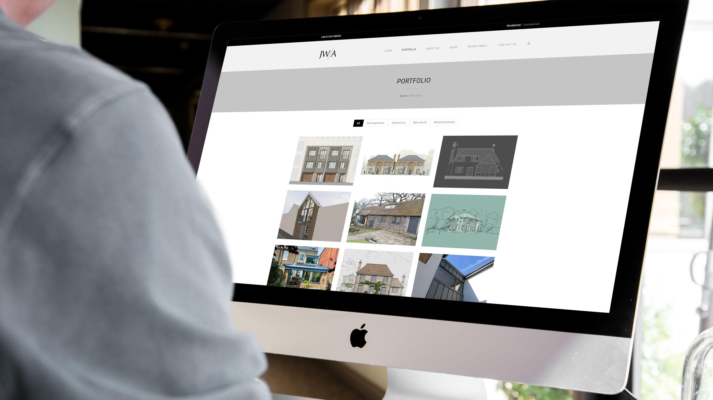James wells architects portfolio page on desktop