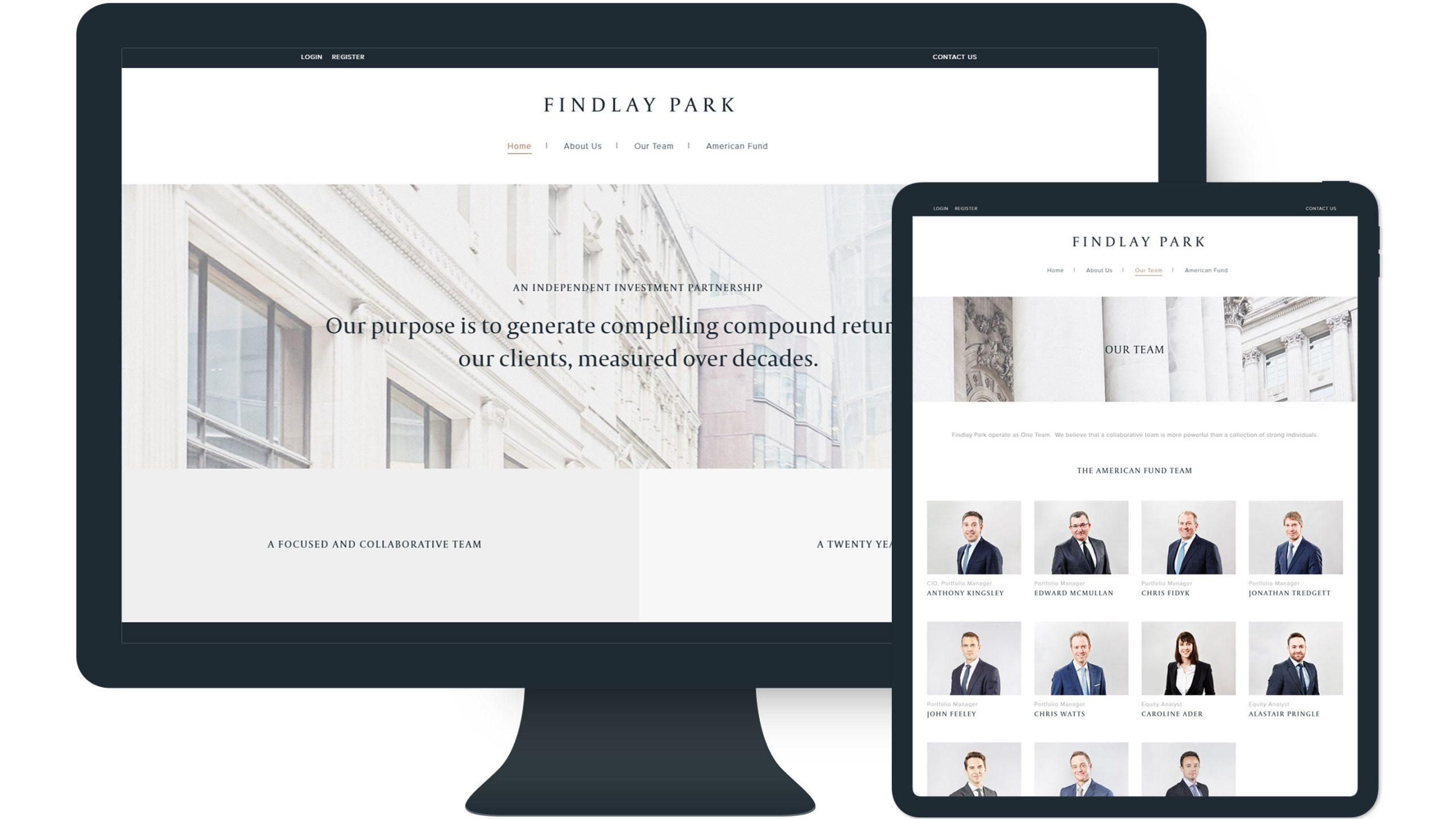 findlay park website on desktop and tablet