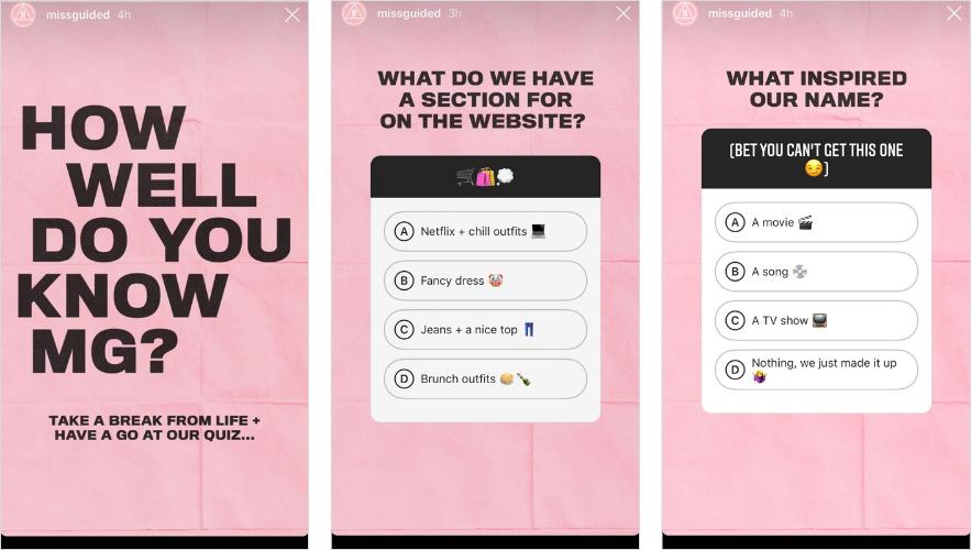 Instagram quiz sticker